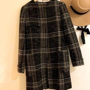 Zara Plaid Collarless Coat
